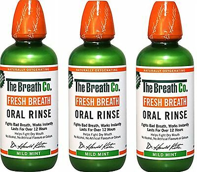 3 x The Breath Co Fresh Breath Oral Rinse 500 ml Mild Mint (Bad Breath)