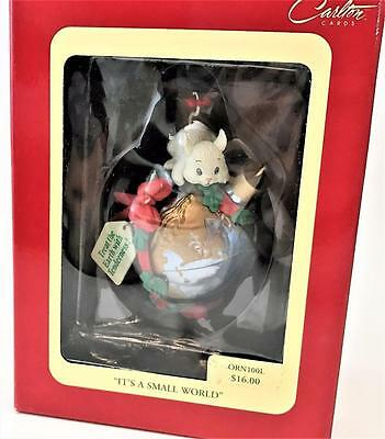 New in Box Vintage Carlton Cards Mouse Christmas Ornament 'It's a Small World'
