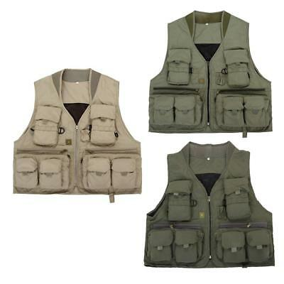 Mens Multi Pockets Fly Fishing Mesh Vest Outdoor Hunting Hiking Jacket Top
