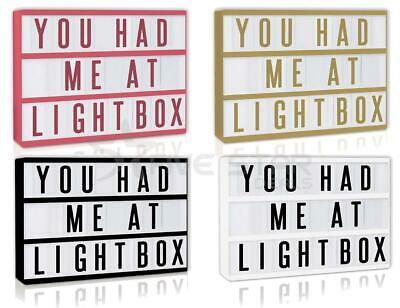 A4 Cinematic Light Up Letter Box Sign Wedding Party Cinema Plaque Led Shop Usb