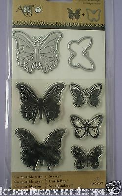Hero Arts ~ BUTTERFLY ~ STAMP and DIE Set  ~ 8 piece