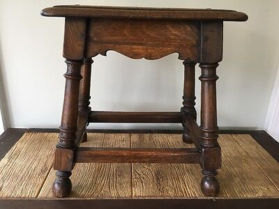 Antique English Oak Bench Foot Stool Turned Post Legs Fluted Skirt