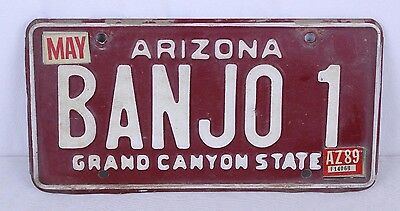 VTG 1989 BANJO 1 Arizona License Plate Lot of 2 Maroon Passenger Plates