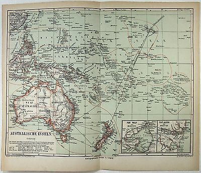 Original 1874 Map of Australia & the Pacific Islands - Vintage Chromolithograph
