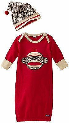 Sozo Baby-Boys Newborn Sock Monkey Gown and Cap Set, Red/Tan, 0-6 Months