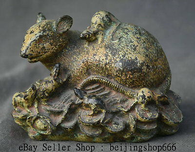 "5"" Antique Chinese Pure Bronze Feng Shui Zodiac Year Mouse Rat Wealth Sculpture"