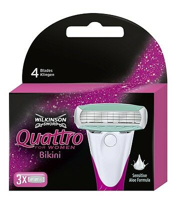 Wilkinson Sword Quattro For Women Bikini Razor Blades X3 Pack