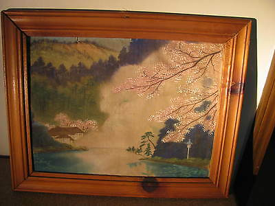 Vintage Antique  Japanese Painting on silk   Framed Signed