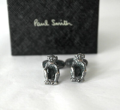 New Boxed Paul Smith Aged Brass Sitting Monkey Quirky CuffLinks