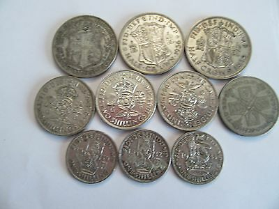 Lot of 10 Great Britain Silver Coins mixed denominations, dated btwn 1923 & 1944