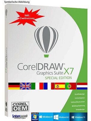 Corel Draw Graphics Suite X7 Vollversion DE / ML Cliparts Schriften Download NEU
