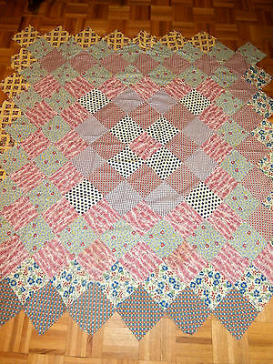 "Antique Vintage Philadelphia Pavement Quilt Top hand pieced Feed sacks 67""x71"""