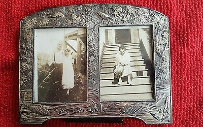 Antique vintage small ornate metal picture frame