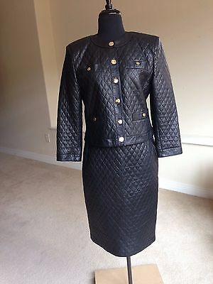 Women's Vintage Quilted Black Italian Leather Suit Skirt Jacket