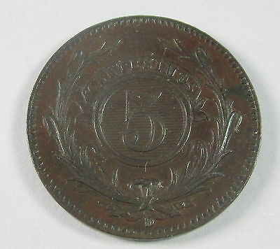 Uruguay 5 Centesimos, 1857,  Circulated, Uncertified