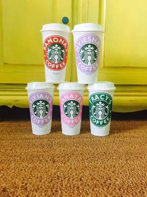 Personalized Starbucks Reusable Cup Vinyl Decal Custom Name Drink