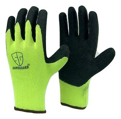 12 pairs Safety Black rubber latex coated High visible cotton extra Grip glove