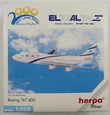New Herpa Wings 512176 Israel Airlines Boeing 747-400 Holy Land 1:500 Scale Rare