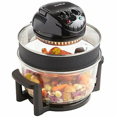 VonShef Premium 12L Black Halogen Air Fryer Oven 1400W, Includes 8 Accessories,