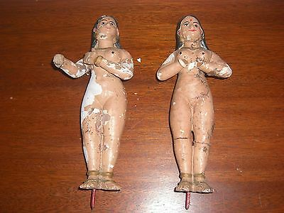 Pair Of Antique Plaster Composition Pottery Female Figures, India