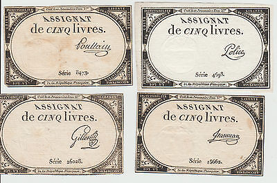 France, Lot of 4 5 Livre Notes, 1793, Uniface Notes