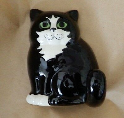 Vintage Cat Ceramic Wall Hook Cute black & white Kitten with pretty eyes Hanger