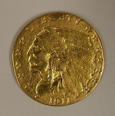 1911 US $2-1/2 Indian Head Gold Coin, $2.50, Quarter Eagle, FREE SHIPPING