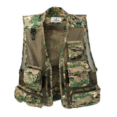 Men's Multi Pocket Camera Outdoor Travelers Fishing Photography Vest Camo Green