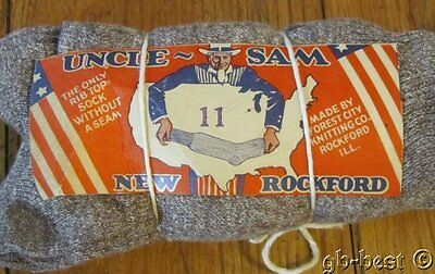 DEAD STOCK Vintage c 1940s Uncle Sam Socks Forest City WORKWEAR 6 pair