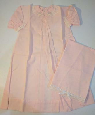 ML VINTAGE Antique Pink Baby Girl Lace Christening Gown Dress & Under Dress Lace