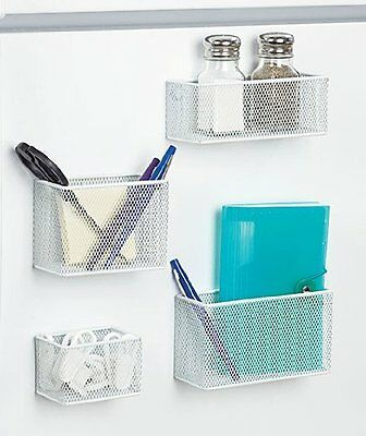 Set of 4 Magnetic Mesh Baskets - White