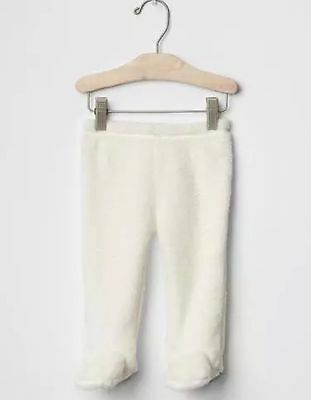 GAP Baby Girls / Boys Size 6-12 Months Ivory Sherpa Furry Footed Leggings Pants