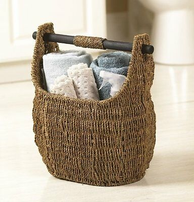 "Seagrass Basket With Wooden Handle 13"" X 16"""