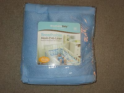 Breathable Baby Breathable Mesh Crib Liner in Light Baby Blue New opened