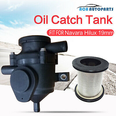 Oil Catch Can Tank Crankcase Stainless Filter Breather Pro Patrol Navara Hilux