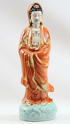 Signed C 1900s Chinese Kwan-Yin Guanyin Porcelain Hand Painted Figure Statue