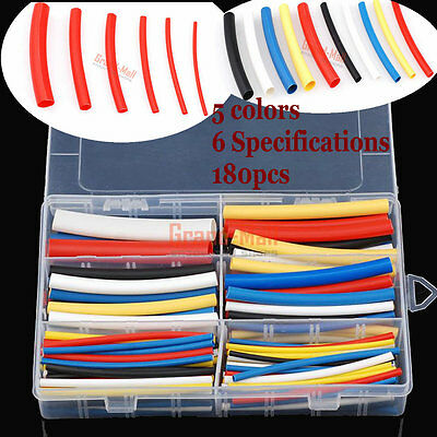 Box of Heat Shrink Tube 3:1 Sleeving Wrap Cable Wire 5 Color 6 Size 180PCS UL