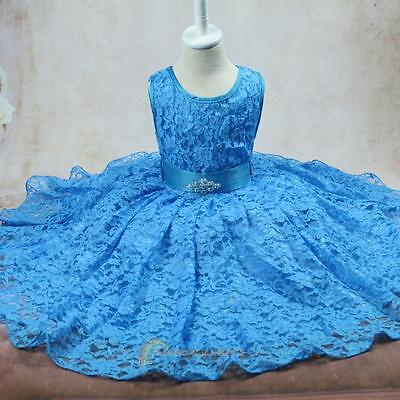 Kids Girl Sleeveless Princess Dress Party Birthday Silk Floral Blue Skirt 2-12Y