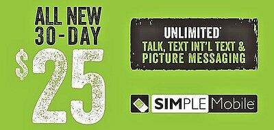 Genuine Simple Mobile $25 30 Day Plan Refill Applied Directly To Account