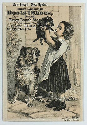 Victorian Trade Card Boston Branch Shoe Store, Boots & Shoes, L. A. Beatty, Dogs