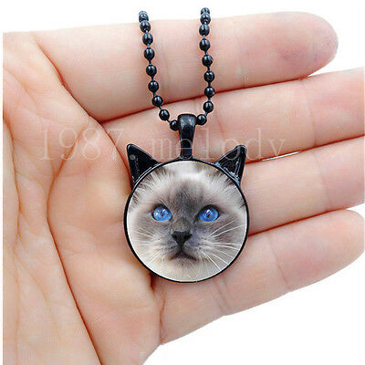 Photo Cabochon Glass Silver/Black Necklace(cute blue eyes cat)with ears pendant
