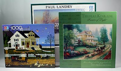 LOT OF 3 NEW SEALED Puzzles 1000 piece Kinkade Wysokis Landry CLASSIC artist
