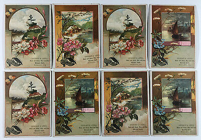 8 Victorian Trade Cards Button's Raven Gloss Shoe Dressing, Shoener & Liebig, PA