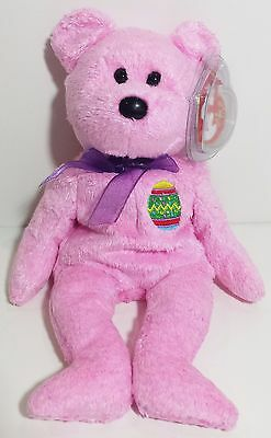 """TY Beanie Babies """"EGGS"""" the Pink EASTER Egg Teddy Bear - MWMTs! RETIRED! GIFT!"""