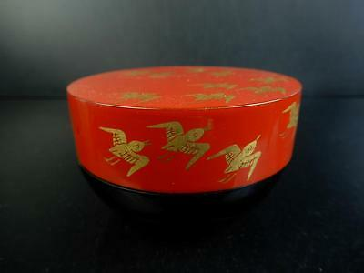 F3324: Japanese Wooden Lacquer ware TEA CADDY Chaire Container