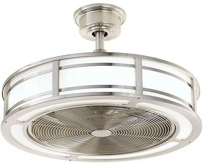Modern Indoor Outdoor Ceiling Fan Nickel Drum Enclosed LED Light Remote Control
