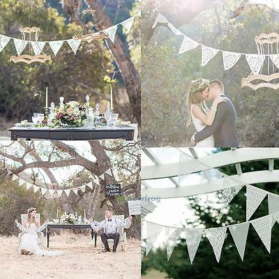 3.2m 11 Flags Lace Vintage Party Wedding Pennant Vintage Bunting Banner Decor
