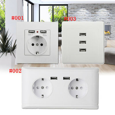 2.1/2.4/10A 2/3 USB Ports Wall Socket Wall Charger Adapter EU Power Outlet Panel