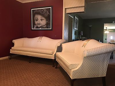 Chippendale Vintage Camelback Sofa  And Loveseat With Claw & Ball Feet