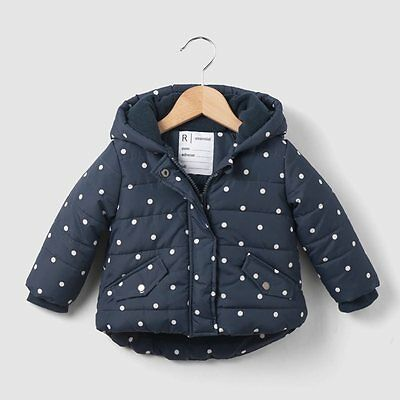 La Redoute Baby Fleece Lined Padded Jacket Navy Polka Dot Age 6 Months New (403)